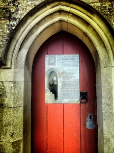 Tyneham church door