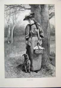 Victorian woman and dog